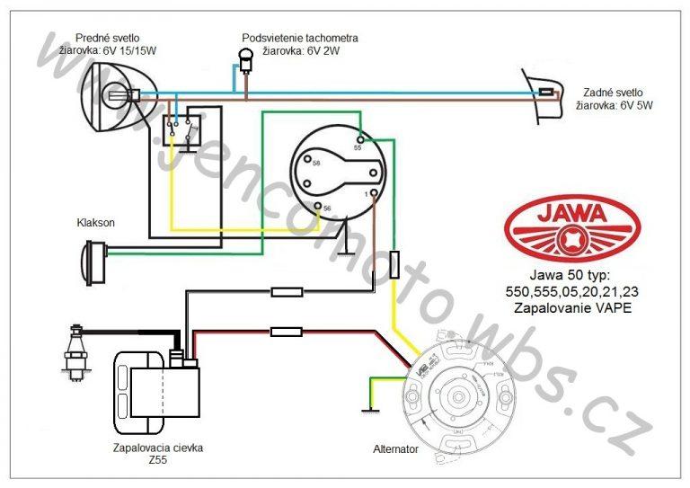 Zapojení Vape 6V/20W s podsvícením tachometru