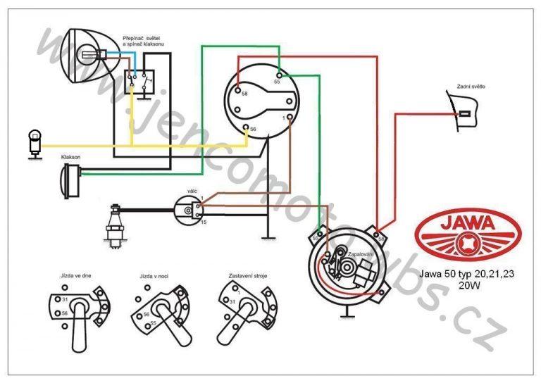 Zapojení 6V/20W s podsvícením tachometru