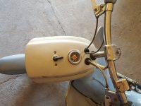 Motocykl Jawa 50 typ 20 Pionýr z roku 1969 holubí modř v původním stavu - řídítka, maska světla, tachometr