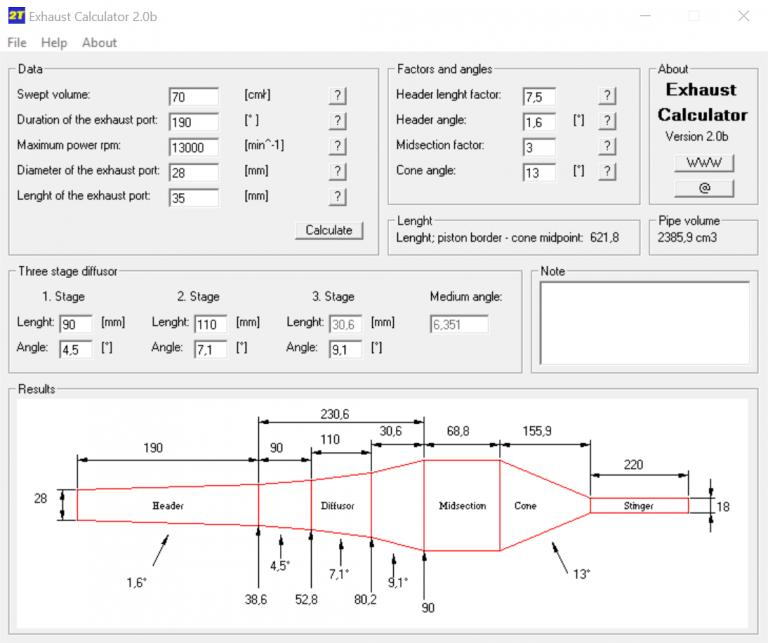ExhaustCalculator2 - program pro výpočet a návrh rezonančního výfuku pro dvoutakt