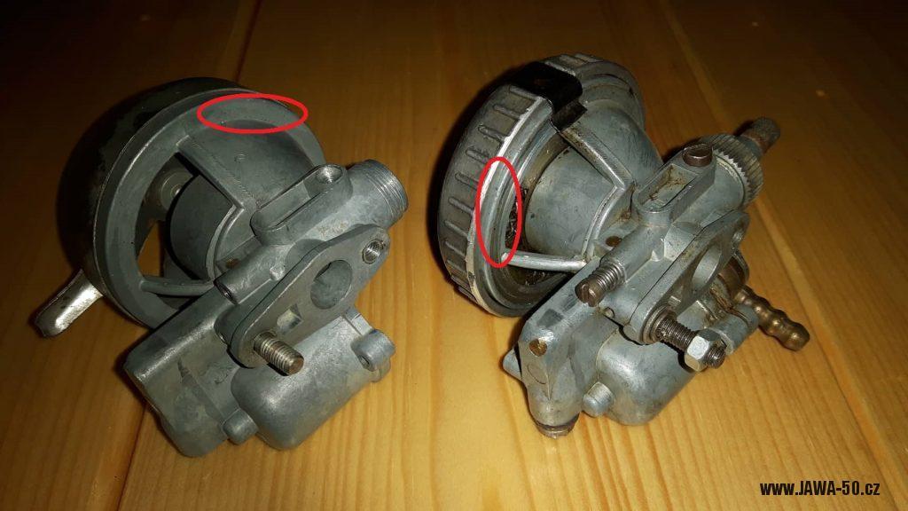 Jawa 550 - karburátory Jikov 2912 porovnání poslední a předposlední verze