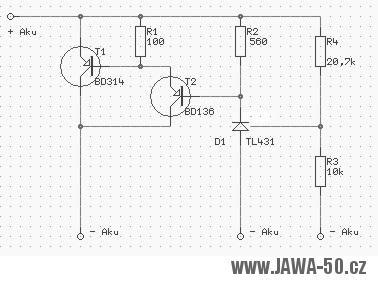 Schéma zapojení 6V regulátoru napětí (dobíjení)