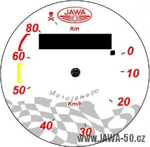 Nové (tuningové) pozadí tachometru Jawa 50