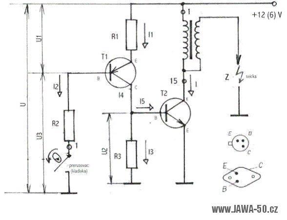 Tranzistorové 12V (6V) bateriové zapalování - schéma zapojení