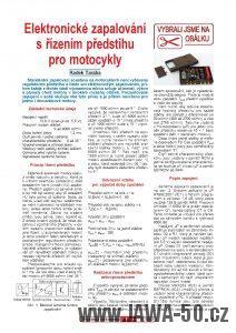 Elektronické zapalování s řízením předstihu pro motocykly