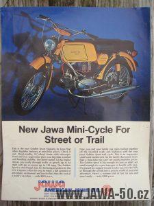 Druhé provedení vývozního motocyklu Jawa 23 Golden Sport z roku 1972 - dobový prospekt