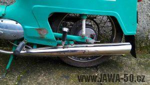Jawa 50 typ 21 Sport (Pionýr) z roku 1976 - nový tvar tlumiče výfuku