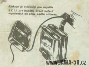 Návod jak správně zapojit baterie motocyklu Jawa 550 (první varianta s velkým klaksonem)