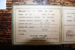 Nejstarší dochovaný kus motocyklu Jawa 550 Pionýr (pařez) v původním originálním stavu - technický průkaz