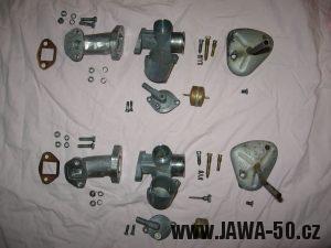 Jawa 23 Golden Sport 3. generace, mokik se sníženým výkonem - porovnání rozdělaných karburátorů Jikov 2915PS a Jikov 2917PSb