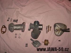 Jawa 23 Golden Sport 3. generace, mokik se sníženým výkonem - rozborka karburátoru Jikov 2915PS