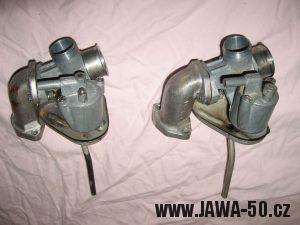 Jawa 23 Golden Sport 3. generace, mokik se sníženým výkonem - porovnání karburátorů Jikov 2915PS a Jikov 2917PSb