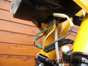 Jawa 23 Golden Sport 3. generace - přední světlomet Puch - zapojení a vypínač zapalování