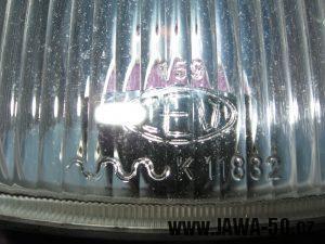 Jawa 23 Golden Sport 3. generace - přední světlomet Puch - sklo světlometu