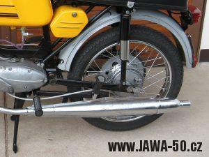 Jawa 23 Golden Sport 3. generace, mokik se sníženým výkonem - výfuk doutníkového tvaru