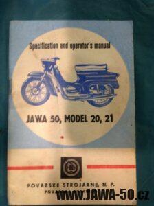 Motocykl Jawa 50 typ 23 Golden Sport (Mustang), exportní provedení pro USA - 1. generace z roku 1971 - přiložená příručka